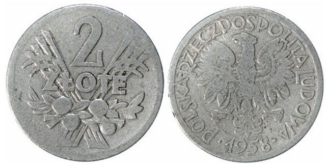 2 злотых 1958 Польша — редкая