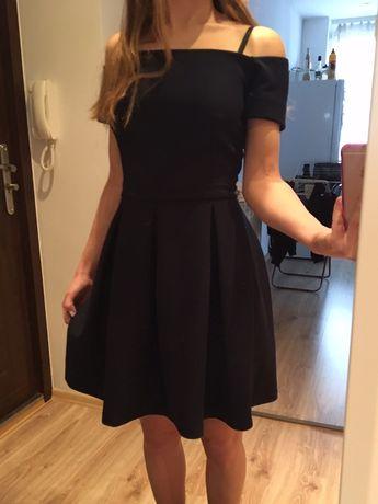 Nowa z metkami granatowa rozkloszowana sukienka z odkrytymi ramionami