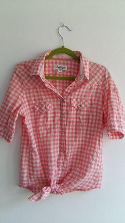 Koszula M 38 wiązana różowa krata