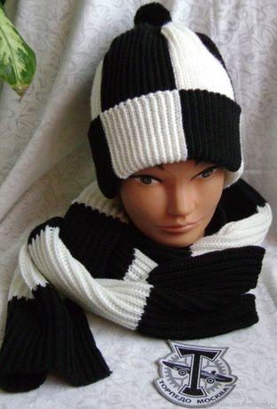 Комплект мужской вязаный шапка и шарф Фанат Торпедо