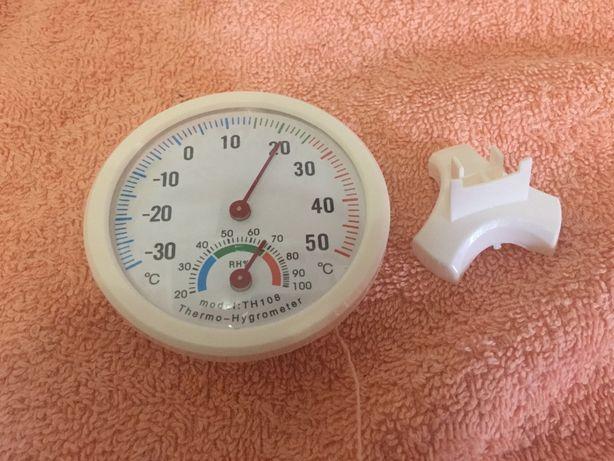Аналоговый круглый термометр-гигрометр/градусник-влагомер на подставке