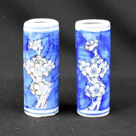 Par de jarras canudo, Porcelana da China, Decoração Flor de Amendoeira