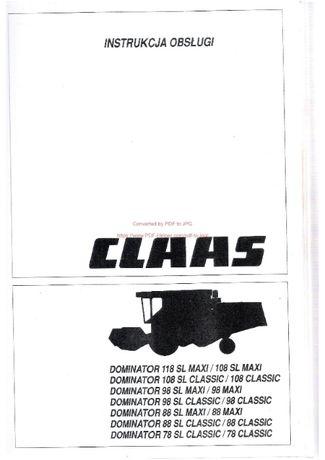 Instrukcja obsługi kombajnu claas dominator 78, 88, 98, 108, 118,