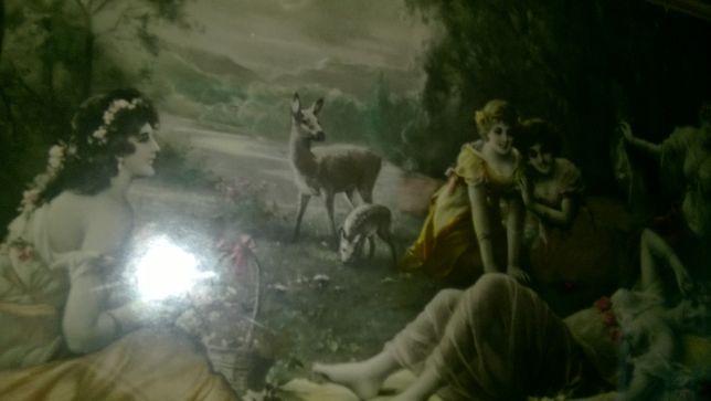 Obraz, reprodukcja za szkłem w złotych starych ramach. Antyk