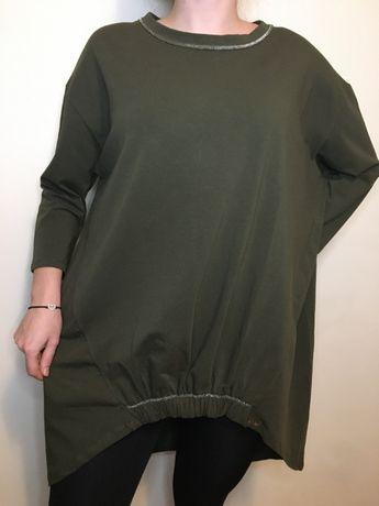 Bluzka o luźnym fasonie z przedłużanym tyłem, kolor khaki