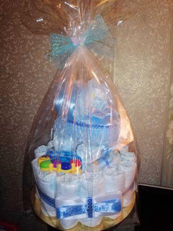 Торт из подгузников. Торт из памперсов. Подарок.
