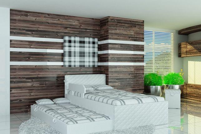 Piętrowe łóżko dla dzieci i młodzieży, eko skóra, materace