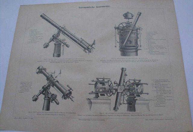 KSIĘŻYC, TELESKOPY, ASTRONOMIA oryginalne, duże XIX w. grafiki