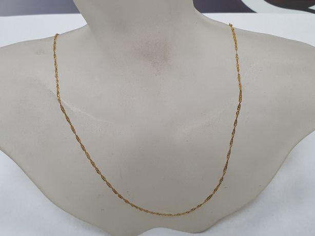 Delikatny złoty łańcuszek damski/ 585/ Singapur/ 1.2 gram/ 42cm