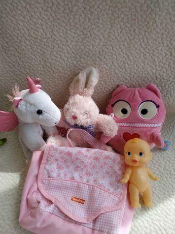 Лот игрушка заяц единорог сумка кукла пупс овечка пингвин пэппа