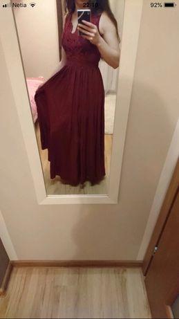Piekna bordowa sukienka