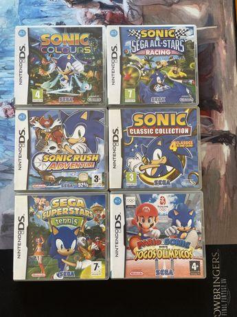 Conjunto de 6 jogos de Sonic para Nintendo DS