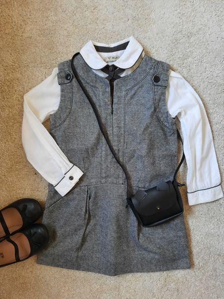 Zestaw r.110 Zara, Next sukienka +koszula