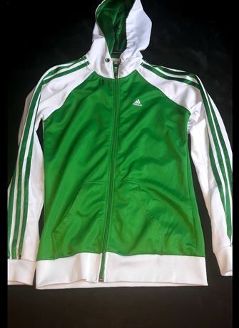 Bluza Adidas zielona z kapturem