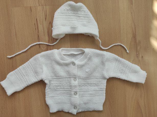 Zestaw biała czapeczka i sweterek dla dziewczynki chrzest/elegancki