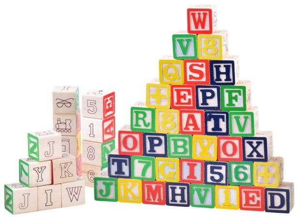 Klocki ABC drewniane litery i cyfry 50 el ZAG1064