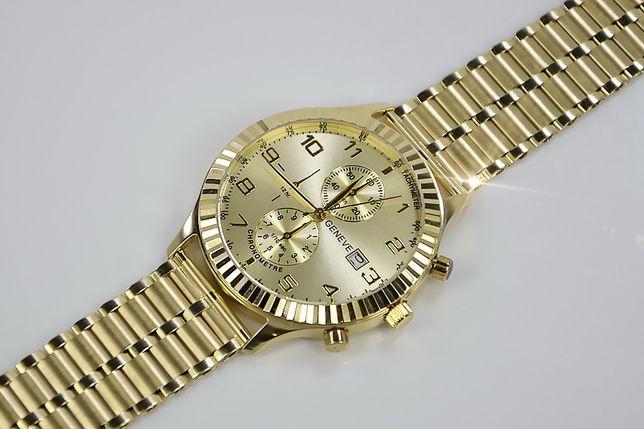 Złoty zegarek z bransoletą męski 14k włoski Geneve mw007y&wb007y B