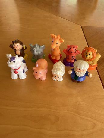 Figurki zwierzęta Dumel arka traktorek żyrafa lew Noe owca krowa