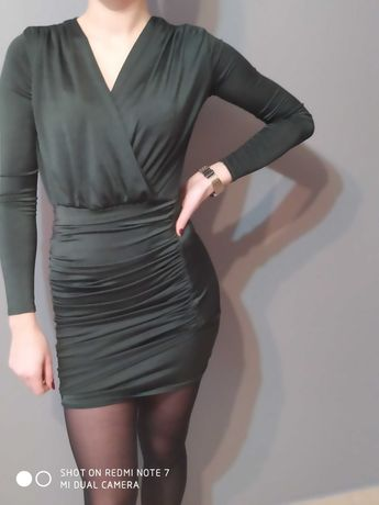 Sukienka dziewczęca butelkowa zieleń