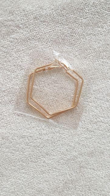 Kolczyki heksagon złote