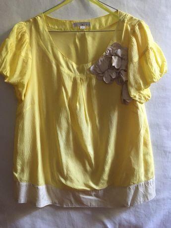 Blusa / top de seda amarela e bege: linda