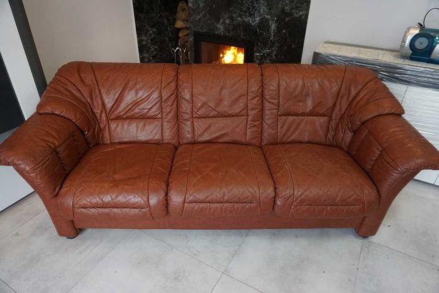 Brązowa skórzana kanapa sofa 3 osobowa skóra naturalna
