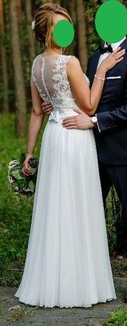 Suknia ślubna Aurelia z rozcięciem muślin koronka