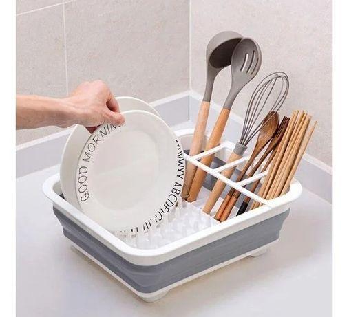 Складная сушилка для посуды силиконовая складная кухонная органайзер !