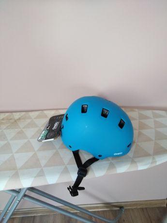 Nowy kask rowerowy niebieski oxelo