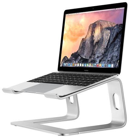 SREBRNY Stojak na Notebook MacBook AIR PRO Aluminiowy Podstawka Stolik