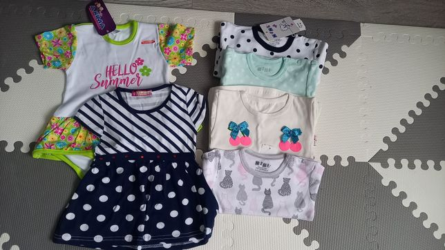 Wysyłka 1zł! Nowy zestaw dla dziewczynki 86 sukienka body t-shirt paka