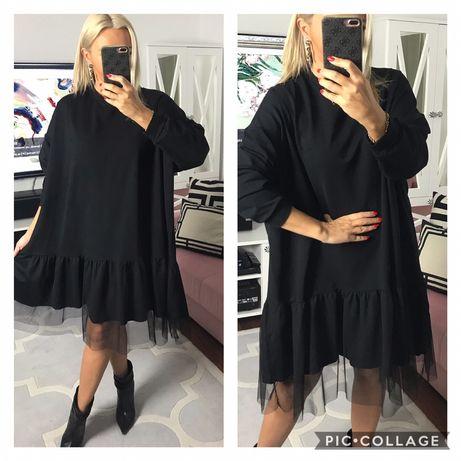 Włoska sukienka z tiulem oversize bawełna dobra na 46,48,50   Szer pac