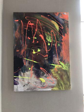 картина A T The Awakening II' 50X70 Акрил, масло, неон, холст