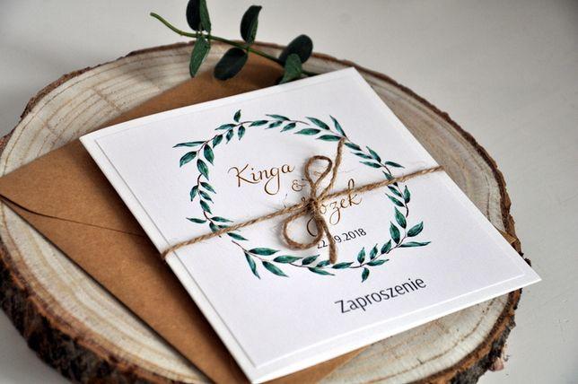 Zaproszenie Ślub Greenery Rustykalne Wianek