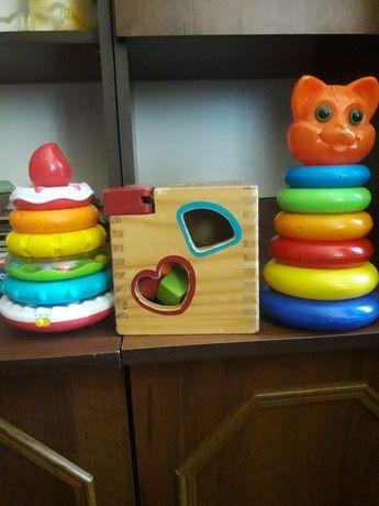 Развивающие игрушки, пирамидки, музыкальная пирамида, сортер