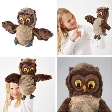 Плюшевая игрушка Сова 25 см IKEA - детская мягкая кукла-рукавичка