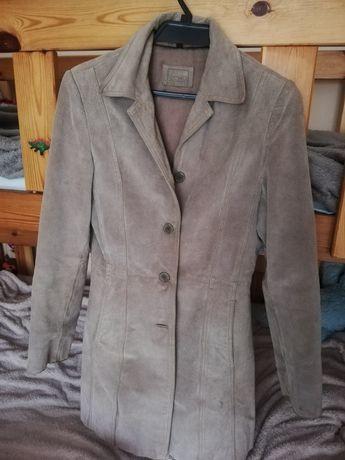 Płaszcz długi beżowy S,zamszowy, płaszczyk skórzany, skóra naturalna