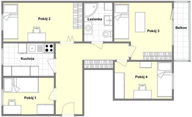 Duży pokój jednoosobowy, blisko centrum, nieprzechodni