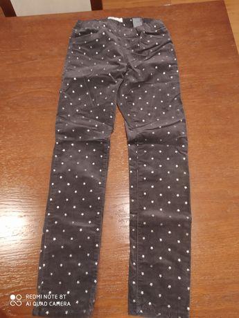 Spodnie treginsy z cienkiego sztruksu szare w srebrne gwiazdki H&M