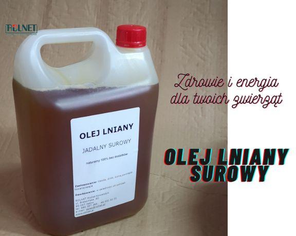 Olej lniany surowy 5l konie, trzoda, bydło, drób