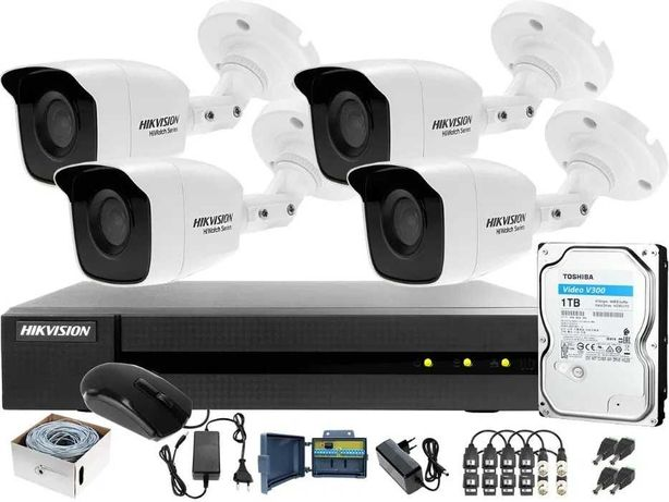 Zestaw monitoringu 4 kamery - Podgląd w telefonie +MONTAŻ monitoring
