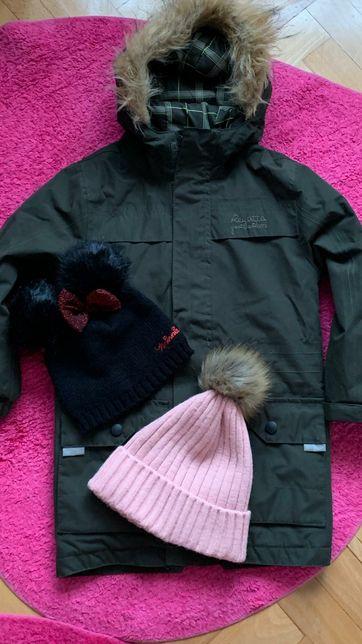 Regatta śliczna ciepła kurteczka + dwie czapki w idealnym stanie 3-4l