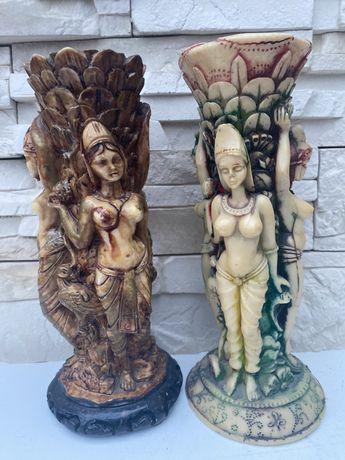 Figurka rzeźba orientalna z alabastru wazonik swiecznik alabaster