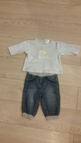 Komplet zestaw bluza spodnie jeansy 62/68