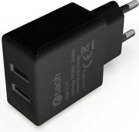 Ładowarka C-Tech Sieciowa 2x USB 2.1A Czarna