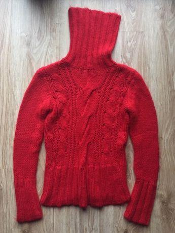 Czerwony golf sweter o warkoczowym splocie Vero moda M 38