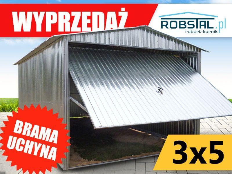 Garaż blaszany 3x5 blaszak brama uchylna konstrukcja ocynk WYPRZEDAŻ
