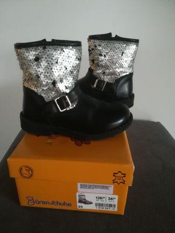 Buciki zimowe botki kozaczki roz. 25 Baren-Schuhe skóra jak nowe