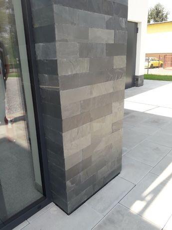 Płytki Łupek Black Slate Naturalny 10x30x0,8-1,3 cm Elewacja Ściana