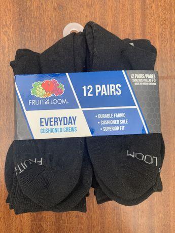 12 пар чёрных носков. Подарочный набор. Fruit of the loom. Из США